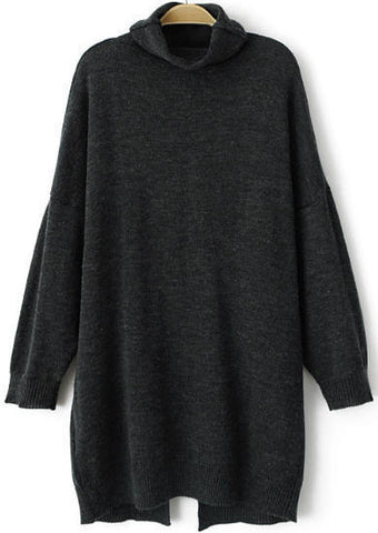 Grey High Neck Long Sleeve Loose Knit Sweater