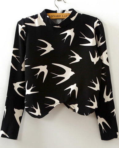 Black Long Sleeve Swallow Print Crop T-Shirt