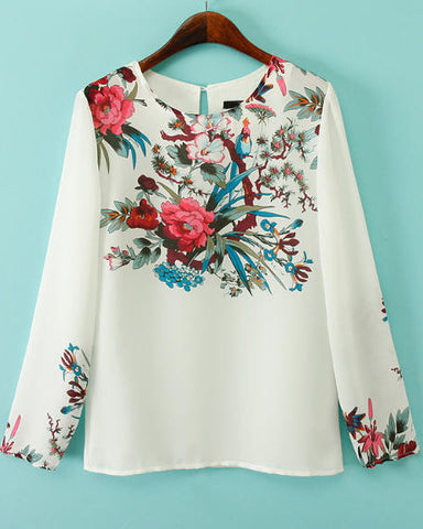 White Round Neck Long Sleeve Floral Blouse
