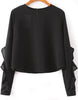 Black Long Sleeve Crop Chiffon Blouse