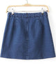 Blue Embroidered Denim A Line Skirt
