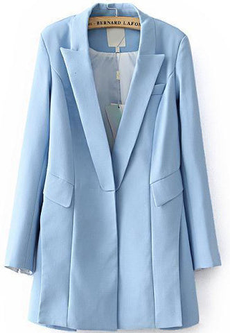 Blue Lapel Long Sleeve Loose Blazer