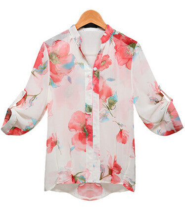 White Half Sleeve Floral Chiffon Blouse