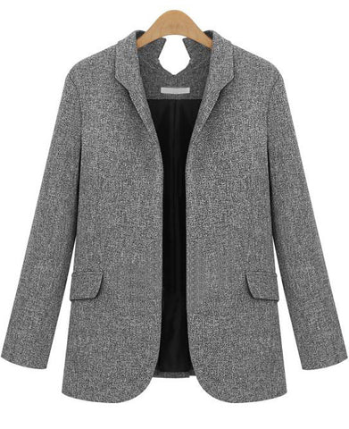 Dark Grey Lapel Long Sleeve Fitted Blazer