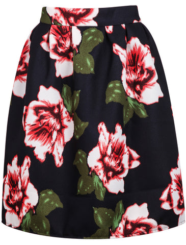 Black High Waist Floral Skirt
