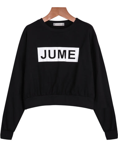 Black Long Sleeve JUME Print Crop Sweatshirt