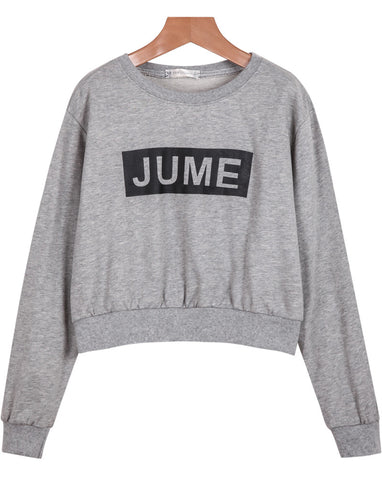 Grey Long Sleeve JUME Print Crop Sweatshirt