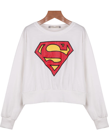 White Long Sleeve Superman Print Crop Sweatshirt