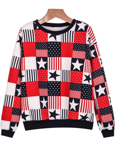Red Long Sleeve Plaid Stars Print Sweatshirt