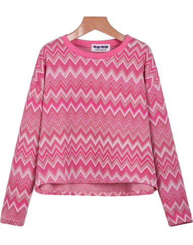 Pink Long Sleeve Zigzag Print Crop T-Shirt
