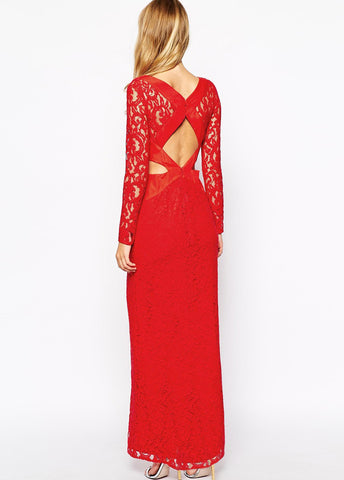 Red Long Sleeve Midriff Lace Maxi Dress