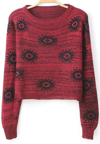 Red Long Sleeve Sunflower Pattern Crop Sweater