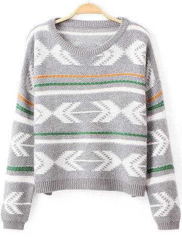 Grey Long Sleeve Geometric Pattern Knit Sweater