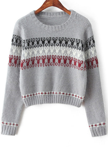 Grey Long Sleeve Tribal Print Crop Sweater