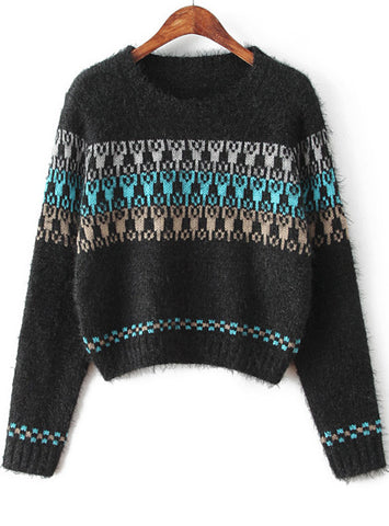 Black Long Sleeve Tribal Print Crop Sweater