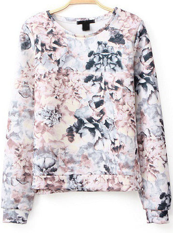 Pink Long Sleeve Floral Loose Sweatshirt