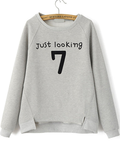 Grey Long Sleeve Letters 7 Print Loose Sweatshirt