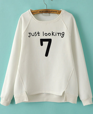 White Long Sleeve Letters 7 Print Loose Sweatshirt