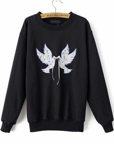 Black Long Sleeve Peace Dove Print Sweatshirt