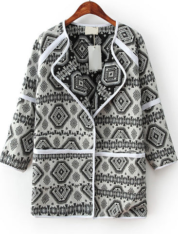 White Lapel Long Sleeve Geometric Print Coat
