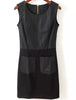 Black Sleeveless Contrast PU Leather Slim Dress