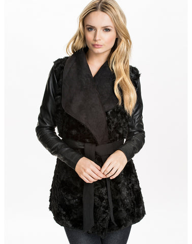 Black Faux Fur Contrast PU Leather Outerwear