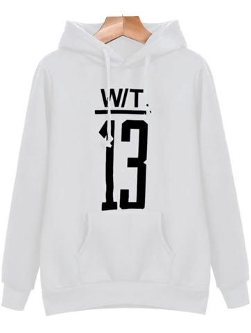 White Hooded Long Sleeve Letters 13 Print Sweatshirt