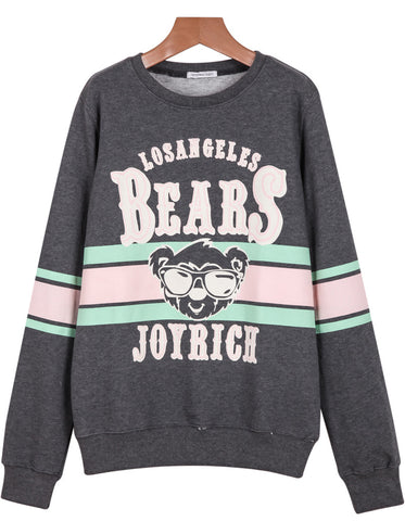 Grey Long Sleeve BEARS Print Loose Sweatshirt