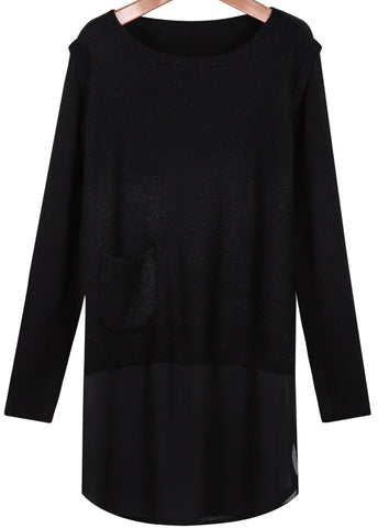 Black Long Sleeve Contrast Chiffon Knit Sweater