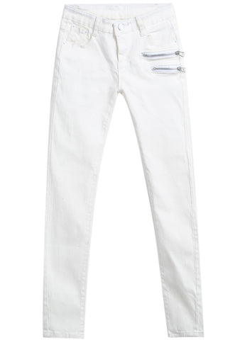 White Zipper Denim Pencil Pant