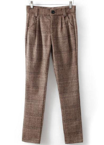 Khaki Slim Plaid Pockets Pant