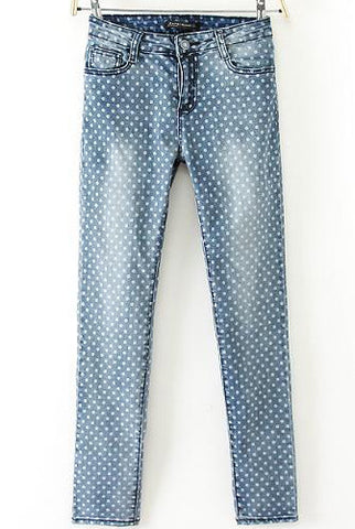 Blue Polka Dot Bleached Pencil Pant