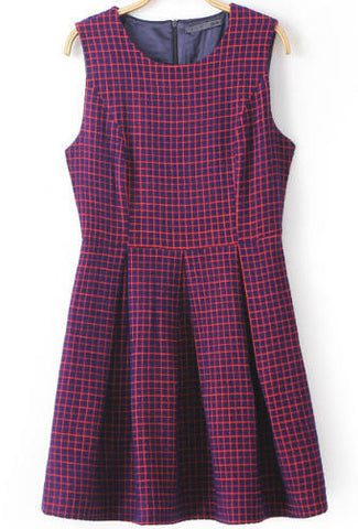 Red Sleeveless Plaid Pleated Dress