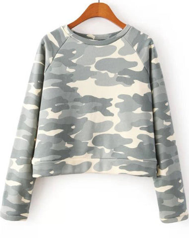 Grey Long Sleeve Camouflage Crop Sweatshirt