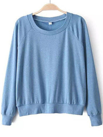 Blue Round Neck Long Sleeve Loose Sweatshirt