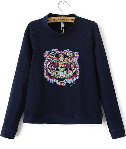 Navy Stand Collar Long Sleeve Embroidered Sweatshirt