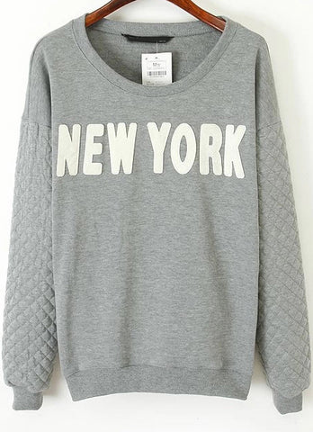 Grey Long Sleeve NEW YOURK Print Loose Sweatshirt