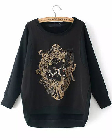 Black Long Sleeve Bead Embroidered Sweatshirt
