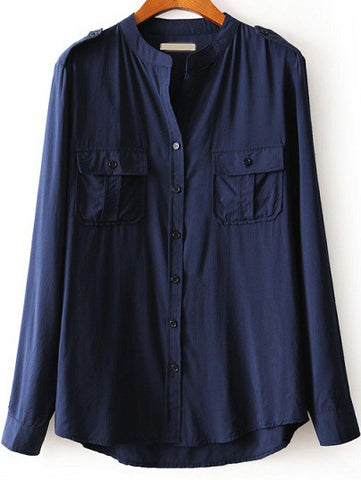 Navy Stand Collar Long Sleeve Pockets Blouse