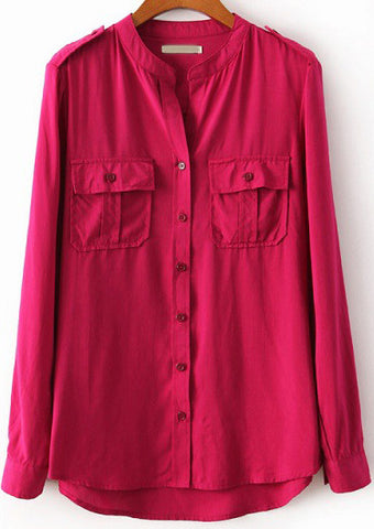 Rose Red Stand Collar Long Sleeve Pockets Blouse
