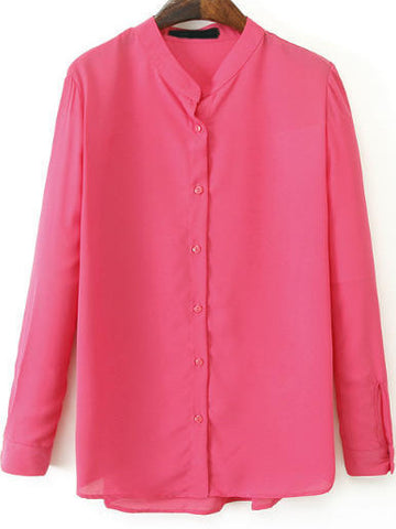 Rose Red Stand Collar Long Sleeve Chiffon Blouse