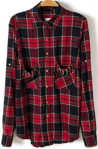 Red Long Sleeve Plaid Rivet Pockets Blouse