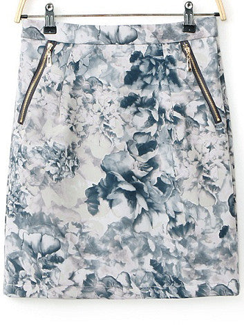 Blue Zipper Floral Bodycon Skirt