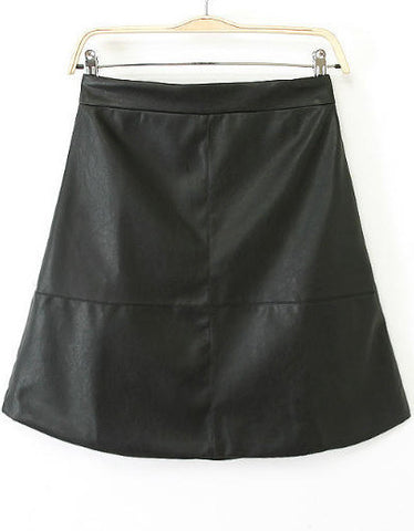 Black High Waist A Line PU Skirt
