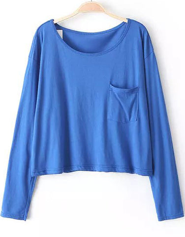 Blue Long Sleeve Pockets Crop T-Shirt