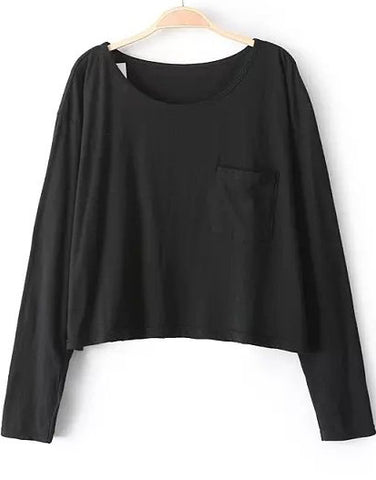 Black Long Sleeve Pockets Crop T-Shirt
