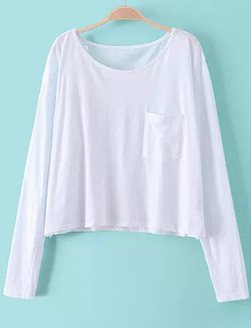 White Long Sleeve Pockets Crop T-Shirt