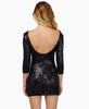 Black Round Neck Sequined Slim Bodycon Dress