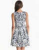 Grey Sleeveless Floral Pleated Tank Dress