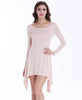 Apricot Long Sleeve Slim Asymmetrical Dress